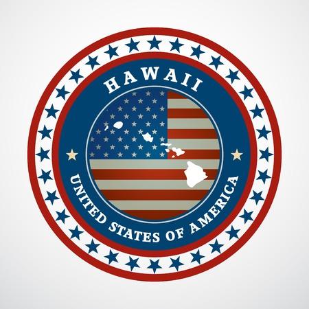 hawaii flag: Label with map of Hawaii, vector
