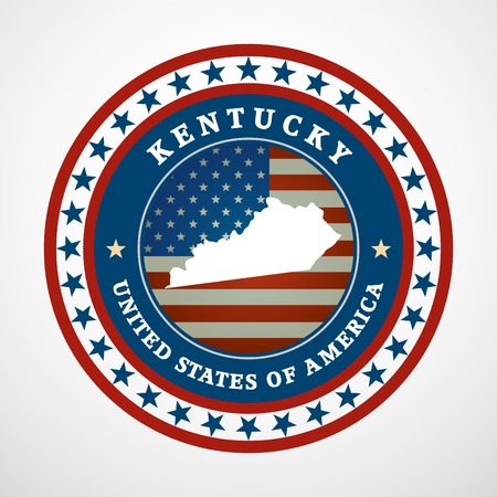 Label with map of Kentucky, vector Vector