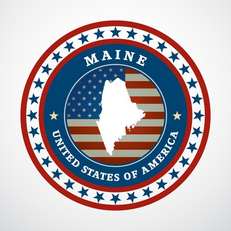 Label with map of Maine, vector Illustration