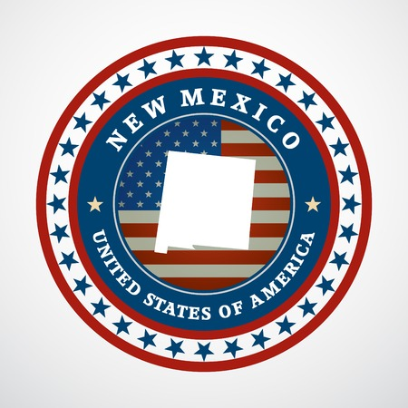 Label with map of New Mexico Vector