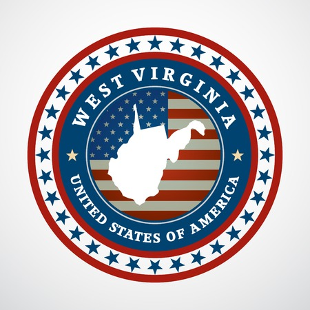 virginia: Label with map of West Virginia, vector Illustration