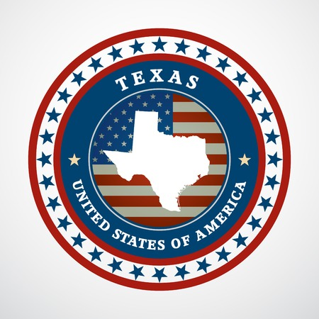 Label with map of Texas, vector Vector