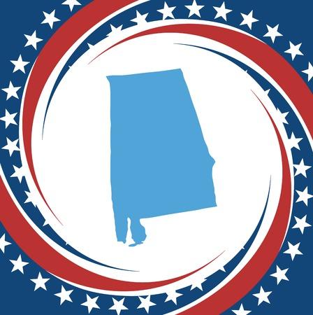 alabama flag: Label with map of Alabama, vector