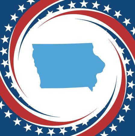patriotic border: Label with map of Iowa, vector