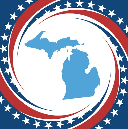 Label with map of Michigan, vector Vector