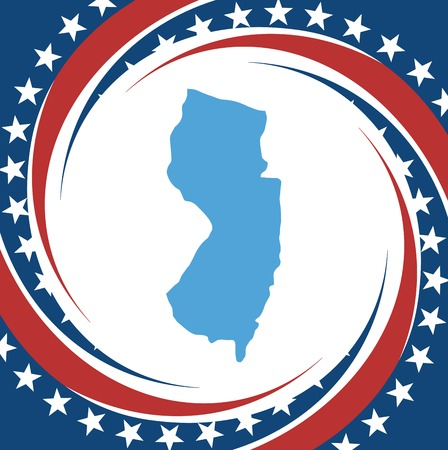 new jersey: Label with map of New Jersey, vector Illustration