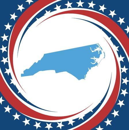 north carolina: Label with map of North Carolina, vector