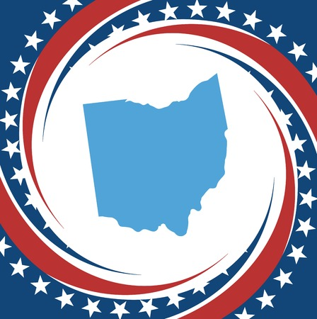 Label with map of Ohio, vector