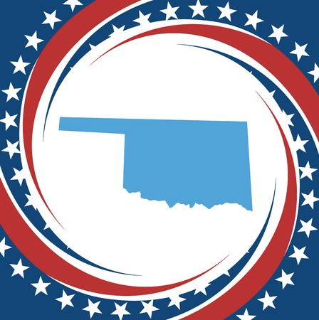 oklahoma: Label with map of Oklahoma, vector