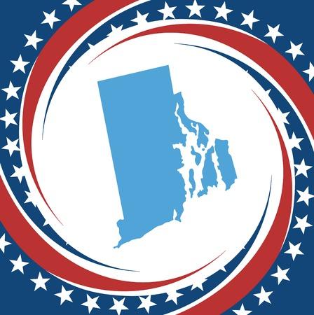Label with map of Rhode Island, vector Vector
