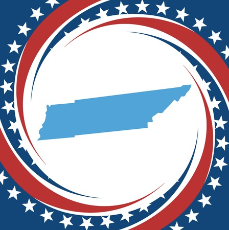 tennesse: Etiqueta con mapa de Tennessee, vector Vectores