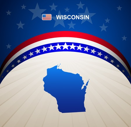wisconsin flag: Wisconsin map vector background