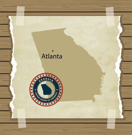 georgia flag: Georgia map with stamp vintage vector background Illustration