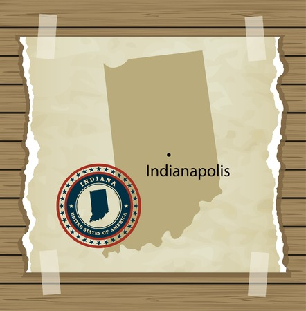 Indiana map with stamp vintage vector background Vector
