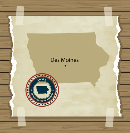 Iowa map with stamp vintage vector background Vector