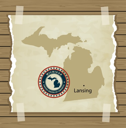 Michigan map with stamp vintage vector background Vector