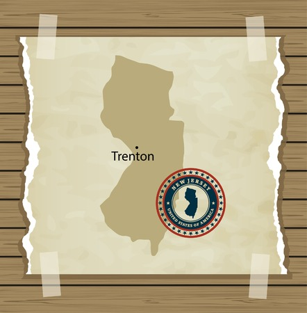 New Jersey map with stamp vintage vector background Vector