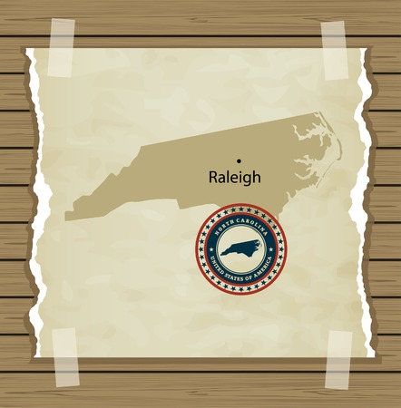 North Carolina map with stamp vintage vector background Vector