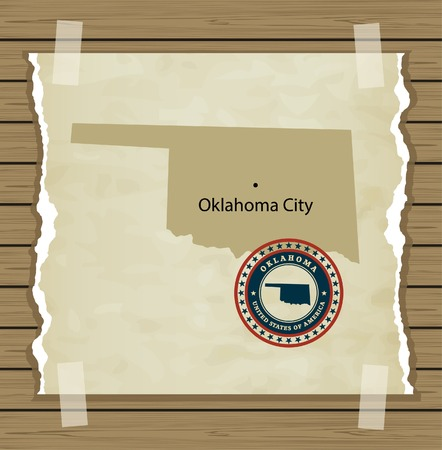 oklahoma: Oklahoma map with stamp vintage vector background