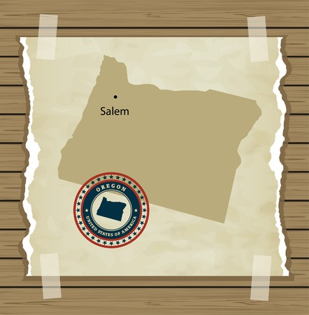 Oregon map with stamp vintage vector background Vector