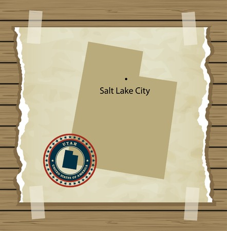 Utah map with stamp vintage vector background Vector