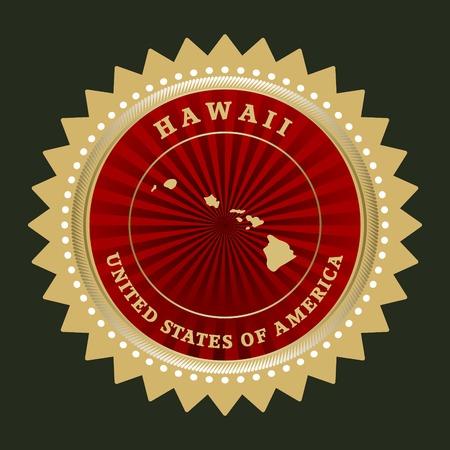 hawaii flag: Star label with map of Hawaii