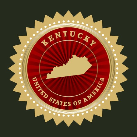kentucky: Star label with map of Kentucky Illustration