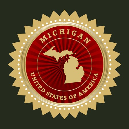 Star label with map of Michigan Vector