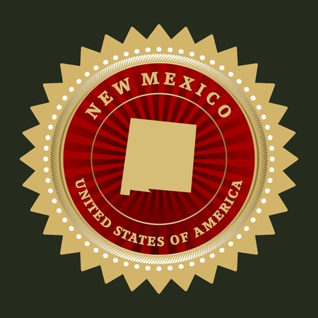 Star label with map of New Mexico Vector
