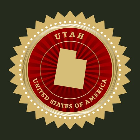 Star label with map of Utah Vector