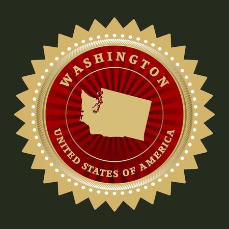 washington state: Star label with map of Washington
