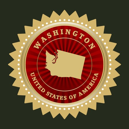 Star label with map of Washington