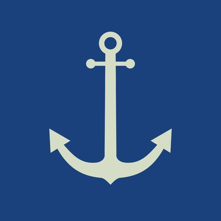 ancre marine: Anchor icône vecteur plat Illustration