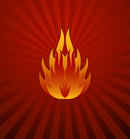 yellow red: Symbols red fire on red background vector