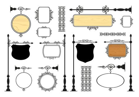 scroll frame: Wrought Iron Signage vector set