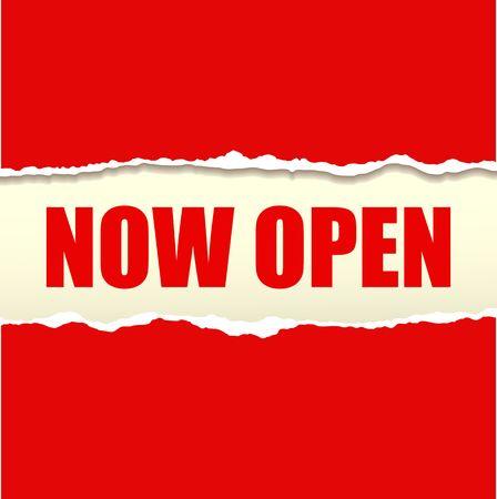 apertura: Ahora abierto vector de la bandera