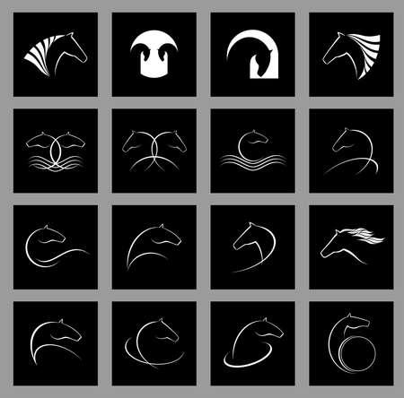 caballos negros: logotipo del caballo conjunto de vectores