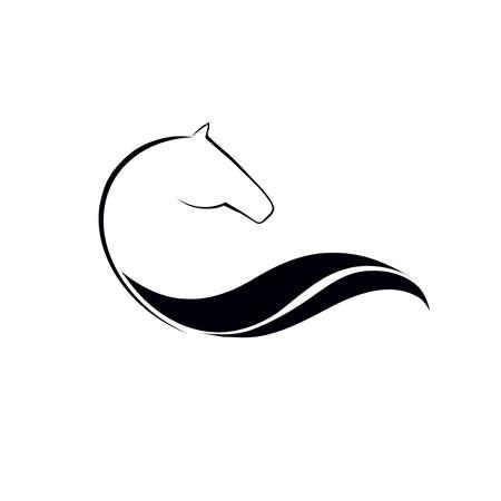 caballo: Caballo logotipo simbólico elemento, icono del vector
