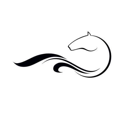paddock: Horse symbolic logo element, vector icon