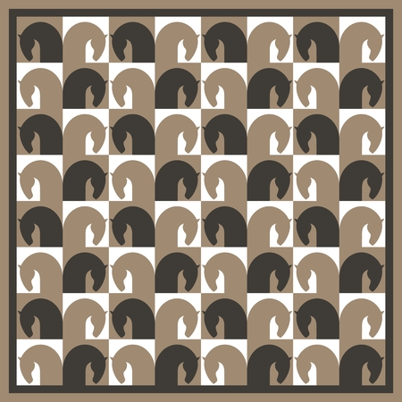 paddock: Seamless pattern with image horse heads, stylized in form chessboard, vector illustration Illustration