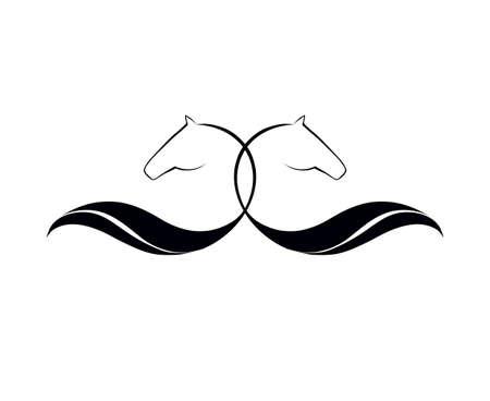 paddock: Horse head symbolic logo element, vector icon