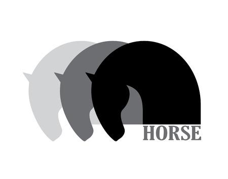 Horse head symbol logo element, vector icon
