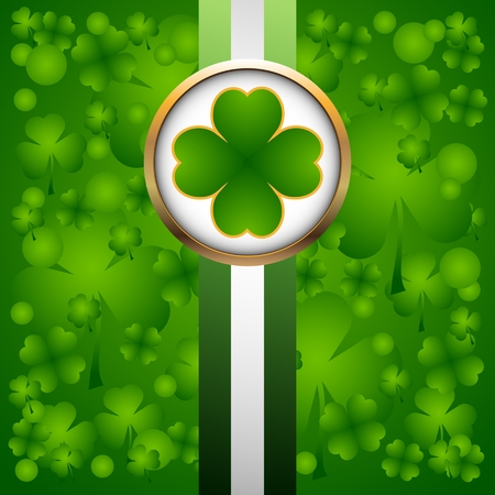 holy leaves: Clover leaf on green background for happy St. Patricks Day Illustration