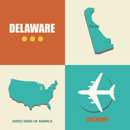 air travel: flat design with map Delaware concept for air travel Illustration