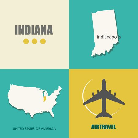 indiana: flat design with map Indiana concept for air travel Illustration