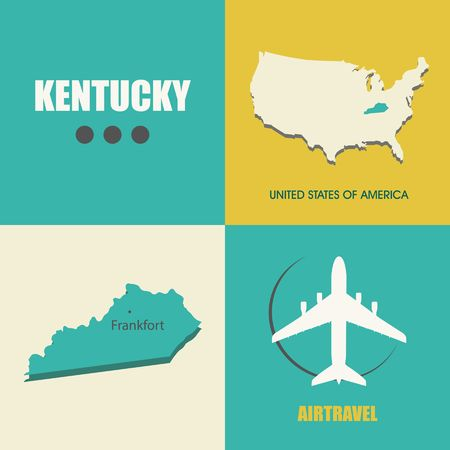 air travel: flat design with map Kentucky concept for air travel Illustration
