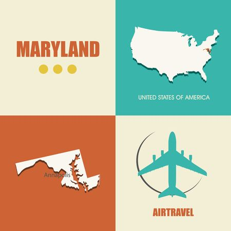 air travel: flat design with map Maryland concept for air travel Illustration