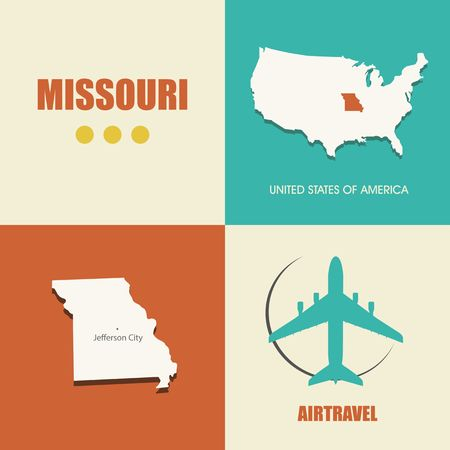 air travel: flat design with map Missouri concept for air travel Illustration