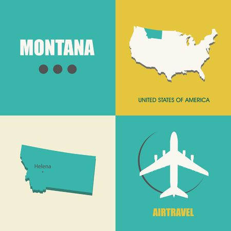 air travel: flat design with map Montana concept for air travel Illustration