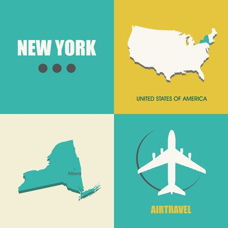 air travel: flat design with map New York concept for air travel Illustration